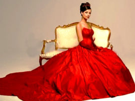 свадебное платье бордового цвета