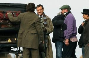 Sherlock Holmes 2 filming in a London park