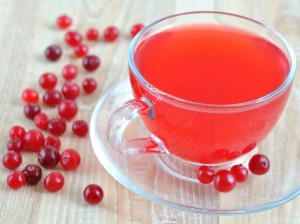 Fresh cranberry juice in a transparent cup